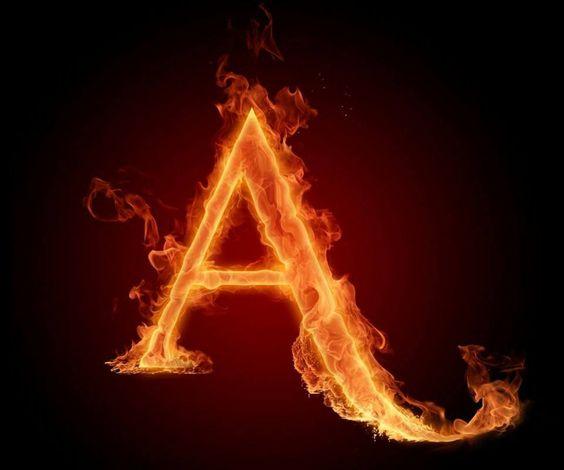 عکس حرف a انگلیسی آتشی