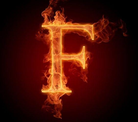 عکس حرف f انگلیسی آتشی