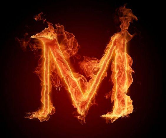 عکس حرف m انگلیسی آتشی