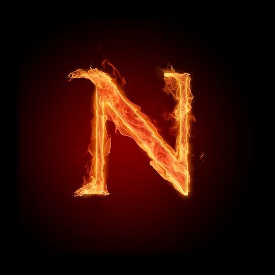 عکس حرف n انگلیسی آتشی