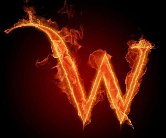 عکس حرف w انگلیسی آتشی