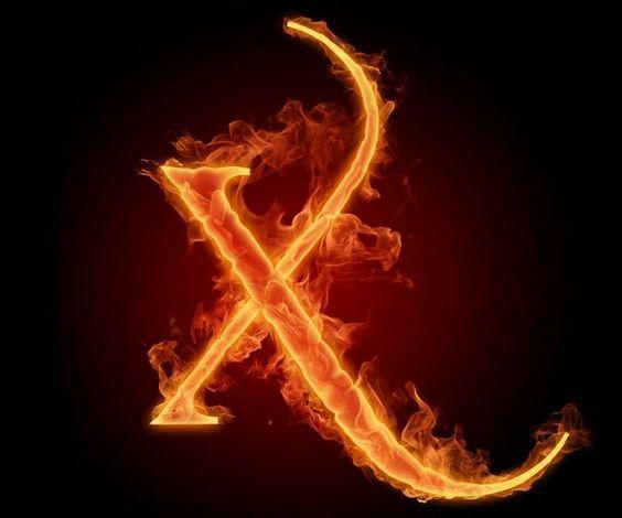 عکس حرف x انگلیسی آتشی